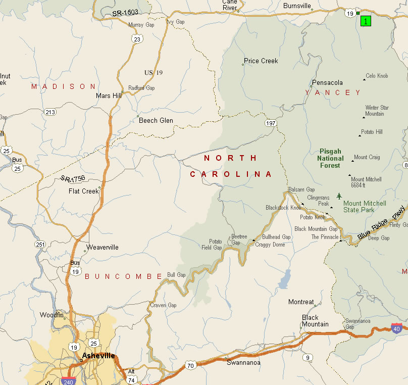 Directions To BW Stone - Us 19e burnsville to spruce pine right of way map